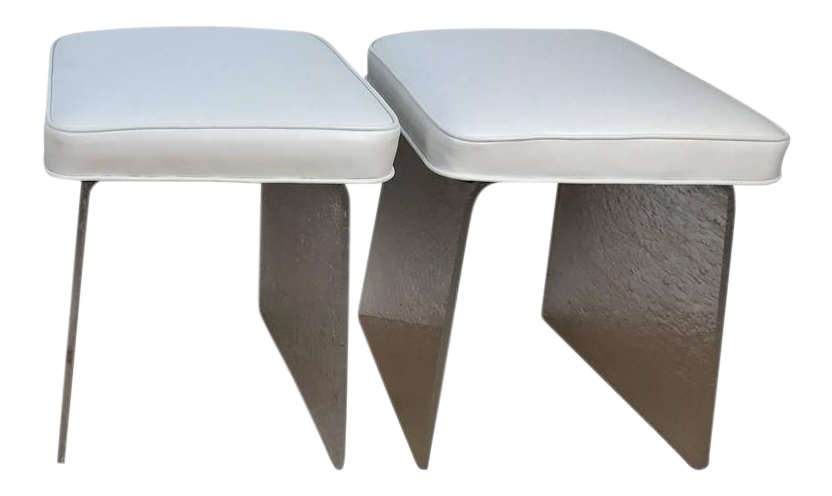 lucite white leather bench or stool