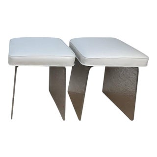 Lucite White Leather Benches Stools - a Pair