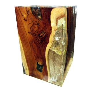 Teak & Acrylic Resin Accent Cube