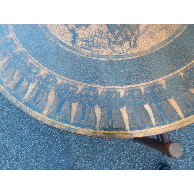 Image of Stamped Copper Egyptian Theme Coffee Table, 1970