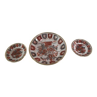 Brass Covered Imari Oriental Bowls - Set of 3