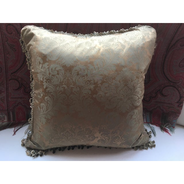 French Antique Silk Damask Pillow - Image 8 of 11