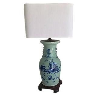 1940s Celadon Foo Dogs Lamp