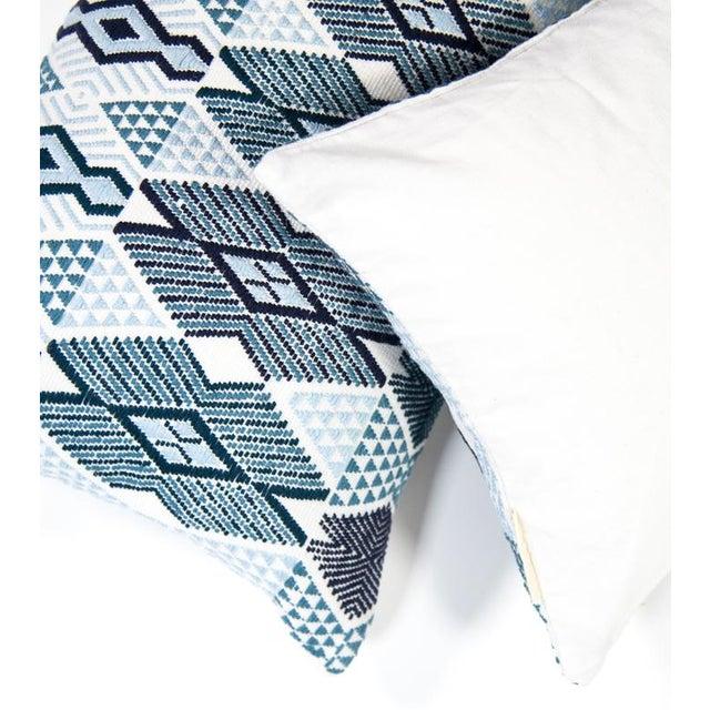 "Handwoven Teal & Blue Guatemalan Pillow - 21""x12"" - Image 2 of 8"
