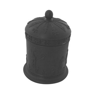 Wedgwood Black Basalt Covered Jar With Lid