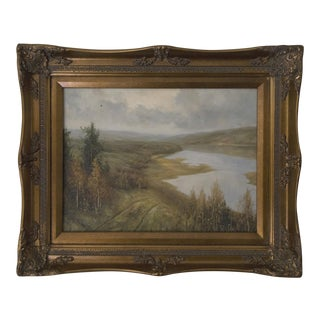 Landscape Original Oil Painting in Baroque Style Frame