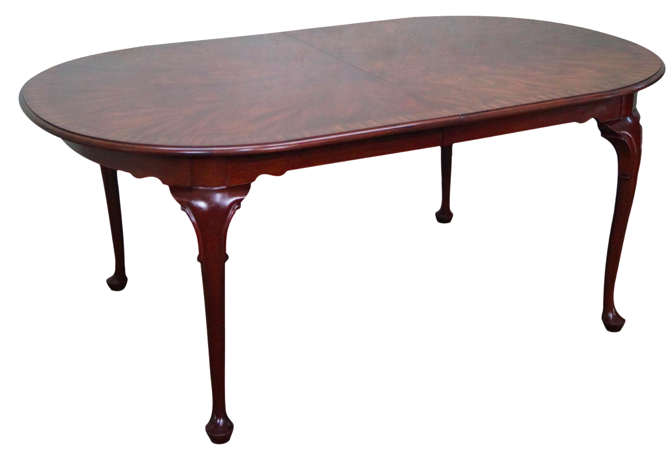 Lovely Henkel Harris Flame Mahogany Oval Queen Anne Dining Table