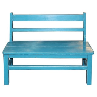 Vintage Blue Child's Bench