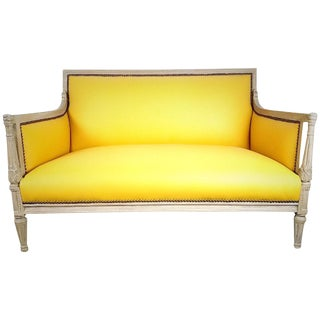 W & J Sloane French Style Yellow Leather Settee