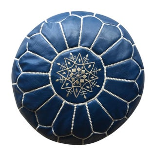 Blue & White Embroidered Leather Moroccan Pouf