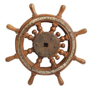 Vintage Teak Captain's Tiller Wheel