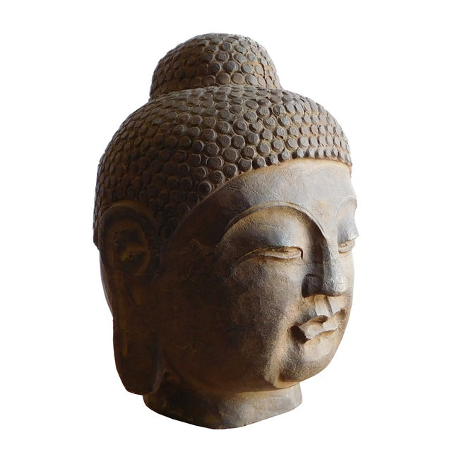 Carved stone buddha head statue chairish