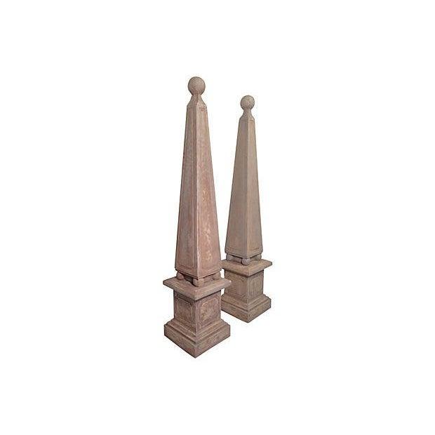 Vintage Custom Gray Concrete Obelisks - A Pair - Image 2 of 5