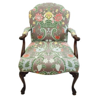 Antique Chinoiserie Upholstered Armchair
