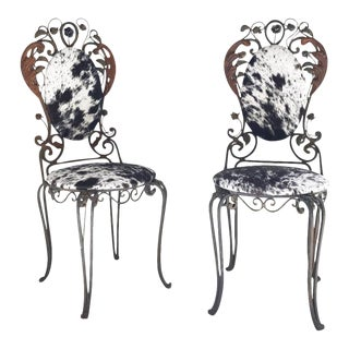 Forsyth One of a Kind Iron Garden Chairs Reupholstered in Brazilian Cowhide - A Pair