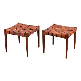 Pair of Vintage Woven Walnut Leather Stools