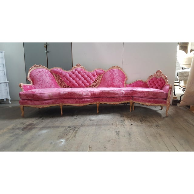 Vintage French Provincial Pink Velvet Sectional