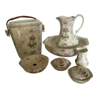 Antique F. Winkle & Co. Whieldon Ware Vanity Wash & Chamber Set - Set of 7