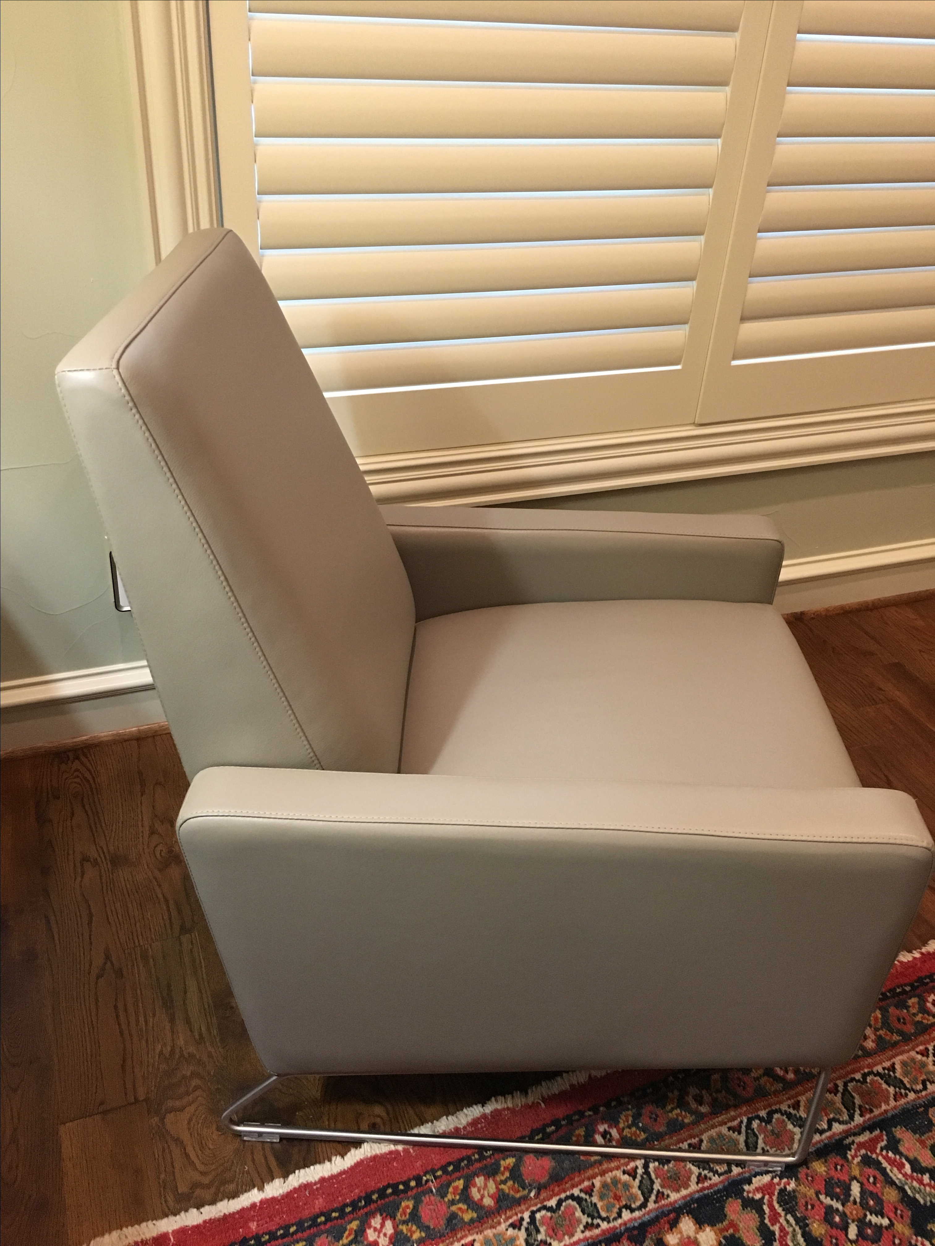 DWR Gray Leather Flight Recliner   Image 3 Of 6