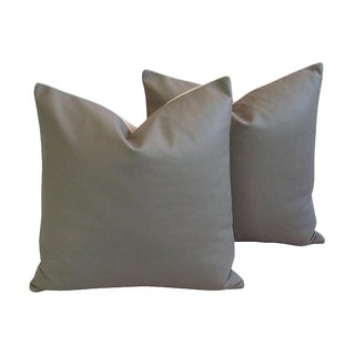 Custom Tailored Italian Gray Leather Feather/Down Pillows - Pair