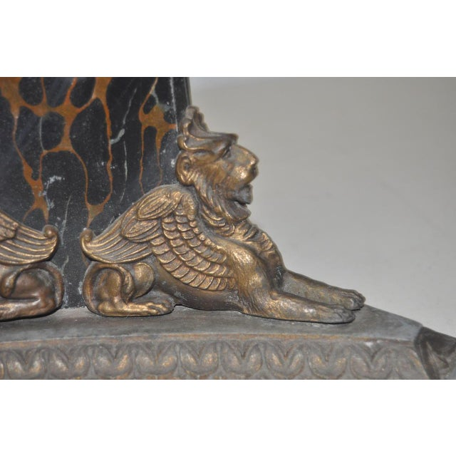 Circa 1900 Egyptian Revival Cast Iron & Faux Marble Table Lamp - Image 4 of 8