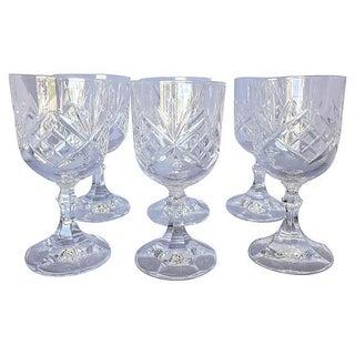 Vintage French Cut Crystal Wine Glasses - Set of 6