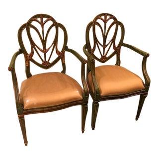 Sarreid Green & Gold Arm Chairs - A Pair