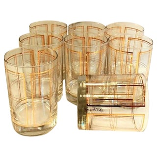 Georges Briard Gold Plaid Low Ball Glasses - 8