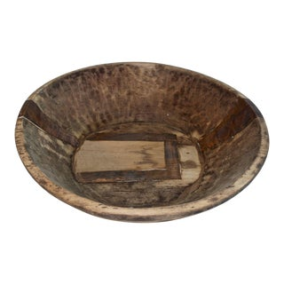 Hand-Carved Rustic Wood Dough Bowl