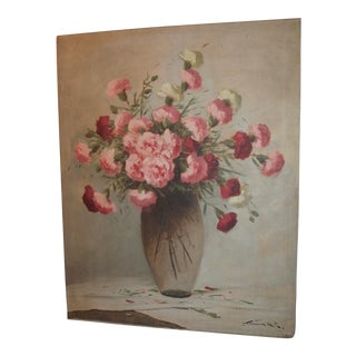 Vintage Large Carnations Oil Painting