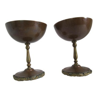 Copper Champagne Coupes - Pair