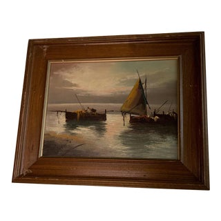 "Vintage ""Sailboats at Sunset"" Oil Painting"