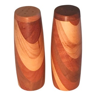 Mid-Century Modern Wooden Salt and Pepper Shakers - A Pair