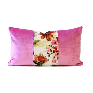 Pink Poppies Designer Velvet Down Pillow