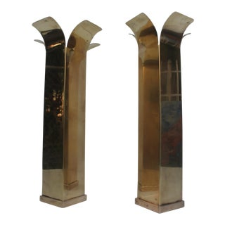 Vintage Hollywood Regency Solid Brass Candle Holders - a Pair