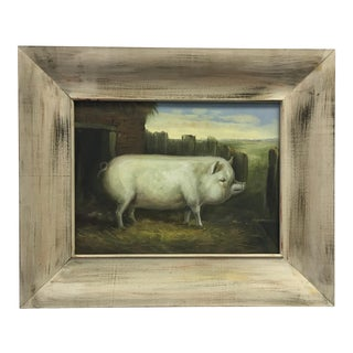 Farmhouse Pig Original Oil Painting