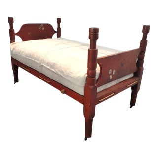 Early 19thc New England Salmon Youth Bed With Homespun Duvet Cover