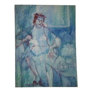 Original Blue Woman Oil on Canvas