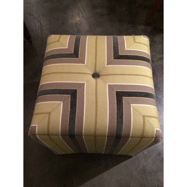 Pair of Upholstered Striped Cube Ottomans - Image 5 of 6