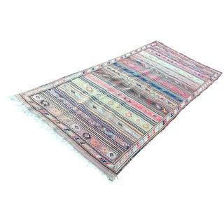 1940s Handmade Kilim Rug - 4′4″ × 10′5″