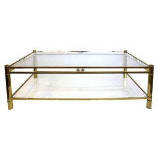 A French NeoGothic-Inspired Rectangular Brass Coffee Table with Lower Shelf