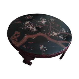 Vintage Red Lacquer Round Table