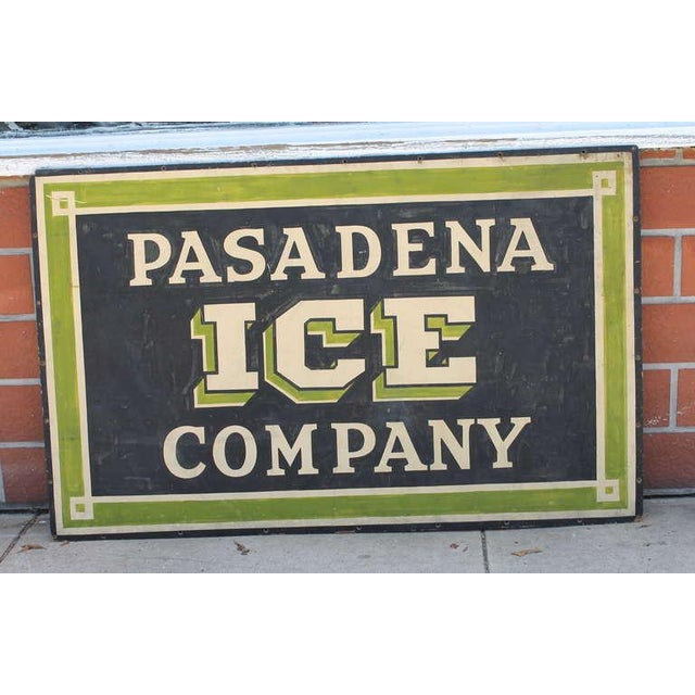 Early Pasadena Ice Company Trade Sign On Board From 1901 - Image 2 of 7