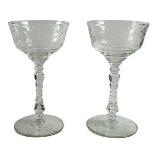 Vintage Cut Glass Wine Stems - a Pair
