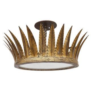 Vintage Gilded Crown Flush Mount Light