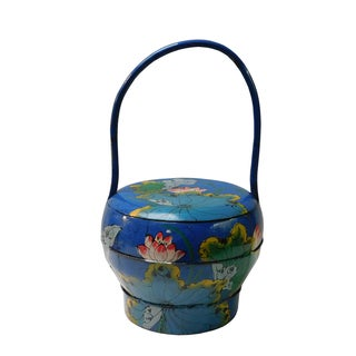 Asian Blue Wedding Basket with Lotus Painting
