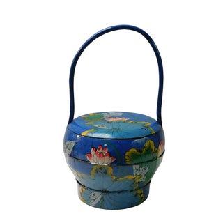 Asian Blue Wedding Basket with Lotus Painting