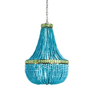 "Currey & Company ""Hedy"" Turquoise Beaded Chandelier (9770)"
