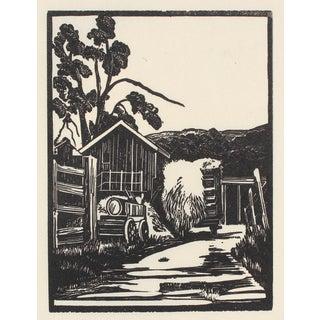 1940s Roadside Linoleum Block Print by Mary Watterick Evans