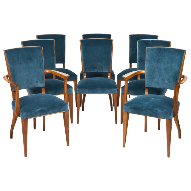 French Art Deco Cherrywood Dining Chairs- Set of 6 - Image 1 of 10